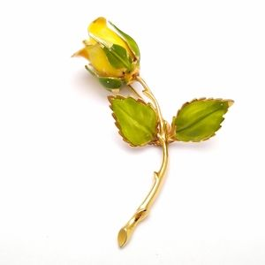 🌹 VINTAGE YELLOW GIOVANNI ROSE BROOCH